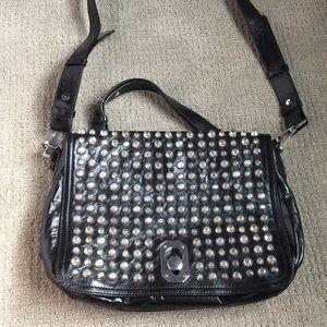 Stuart Weitzman leather studded messenger bag